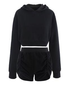 Baumwollmischung Crop Hoodie und Shorts Set in Schwarz