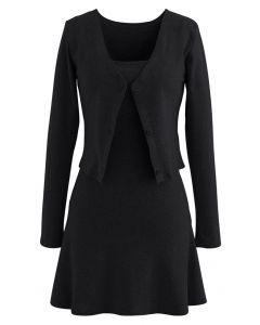 Baumwollmischung V-Ausschnitt Knopf Twinset Kleid in Schwarz