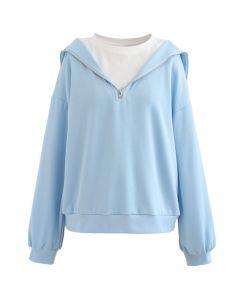 Gespleißtes Sweatshirt mit Reißverschluss vorne in Babyblau