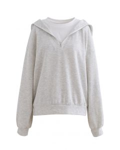 Gespleißtes Sweatshirt mit Reißverschluss vorne in Hellgrau