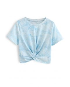 Twist Hem Tie Dye Crop Top in Himmelblau