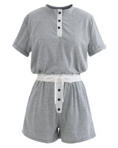 Button Drawstring Crop Top und Shorts Set in Grau