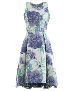 Blue Dahlia Jacquard Waterfall Ärmelloses Kleid