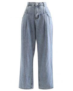 Falten Taschen High-Waisted Soft Jeans