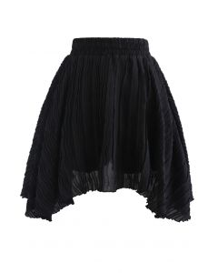 Ripple Embossed Double Layers Skorts in Schwarz