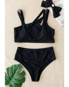 Triple Straps Schwarzes Bikini-Set
