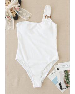 O-Ring Badeanzug mit einer Schulter in Weiß
