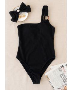 O-Ring Badeanzug mit einer Schulter in Schwarz