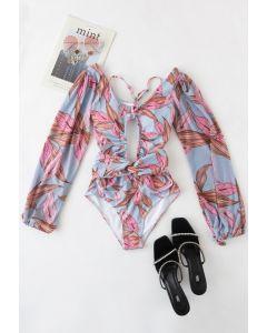 Ausschnitt-Neckholder-Badeanzug mit Netzärmeln aus rosa Blatt