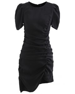 Puff Shoulder Ruffed Bodycon Kleid in Schwarz
