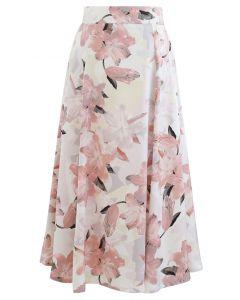Rosa Lily Blossom Chiffon Midirock