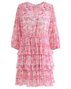 Plissee Tie-Dye Tiered Dolly Kleid in Pink