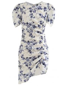 Puff Shoulder Ruffed Bodycon Kleid in Blumen