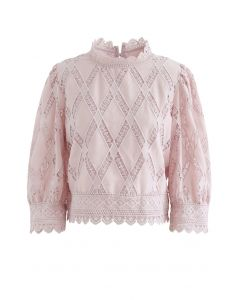 Crochet Inserted Puff Sleeves Crop Top in Dusty Pink