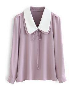 Doppelkragen Bowknot Shirt in Pink