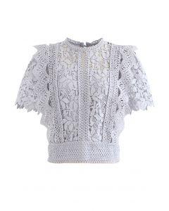 Lush Leaves Crochet Top in Lavendel