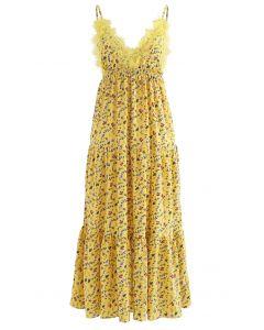 Tauchender Floret-Rüschen-Cami-Kleid mit V-Ausschnitt in Gelb