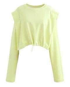 Verstellbares übergroßes Crop-Sweatshirt aus Limette