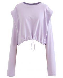 Verstellbares übergroßes Crop-Sweatshirt aus Lavendel