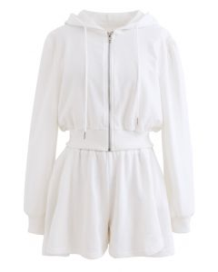 Crop Hoodie und Shorts mit Reißverschluss und Kordelzug in Weiß