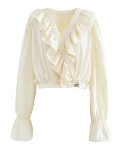Buttoned Wrap Ruffle Crop Top in Creme