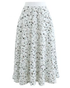 3D Applique Floral Print Midi Skirt in Mint
