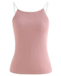 Pearl Straps Strick Cami Tanktop in Pink