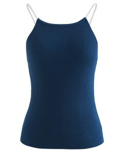 Pearl Straps Knit Cami Tank Top in Peacock