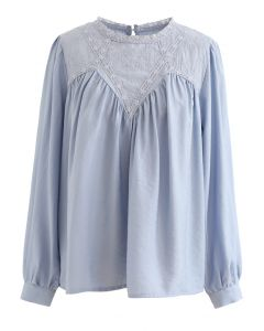 Embroidered Floral Long Sleeve Top in Dusty Blue