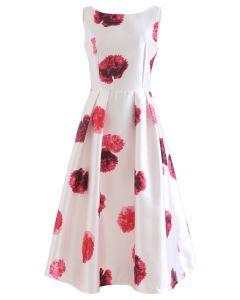 Nelke bedrucktes plissiertes ärmelloses Kleid