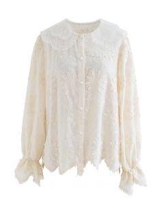 Feines besticktes Hemd mit Organza-Hals in Creme