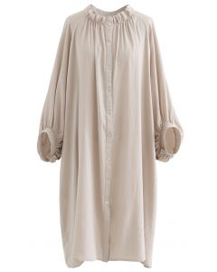 Breezy Bubble Sleeve Longline Shirt Kleid in Hellbraun