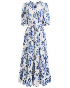 Blaues Wickel-Rüschenkleid mit Blumenmuster