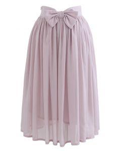 Bowknot Taille Chiffon Plissee Midirock in Pink