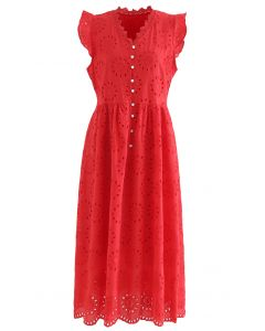 Allover Eyelet Embroidery Buttoned Ärmelloses Kleid in Rot