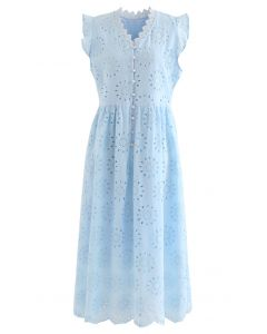 Allover Eyelet Embroidery Buttoned Ärmelloses Kleid in Blau