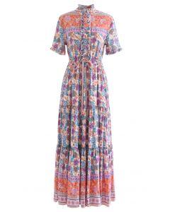Kordelzug Taille Blumen geknöpft Boho Maxi-Kleid in Flieder