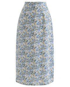 Ditsy Blumen Chiffon Bleistiftrock in Blau
