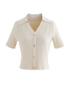 Button Down Collared Crop Top in Creme
