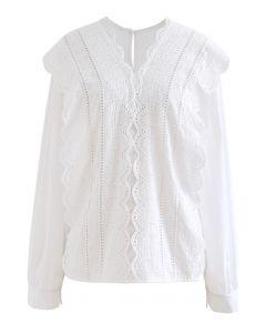 V-Ausschnitt Scrolled Embroidery White Shirt