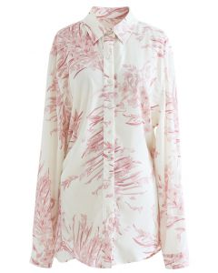 Zierliches Langleinenhemd mit Blumendruck in Pink