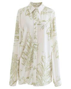 Zierliches Langleinenhemd mit Blumendruck in Moosgrün