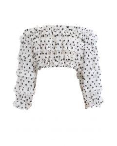 Polka Dots schulterfreies, gekräuseltes Crop-Top in Weiß