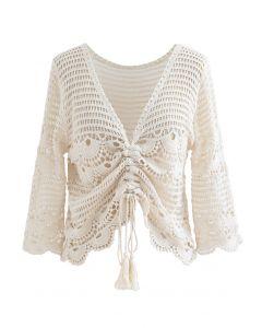 Delikatesse Crochet Drawstring Smock Top