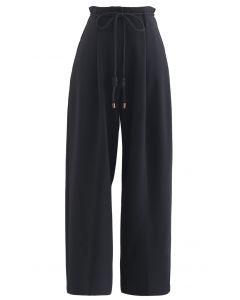 Krawatte Taille Straight-Leg Plissee Hose in Schwarz