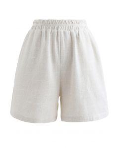 Elastische Taillentaschen Baumwoll Leinen Shorts in Elfenbein
