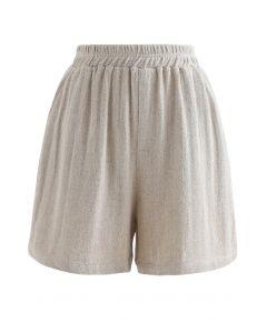 Elastische Taillentaschen Baumwoll Leinen Shorts in Sand