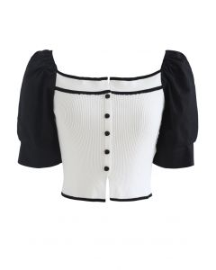 Puff Short Sleeves Buttoned Crop Knit Top in Weiß