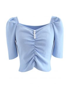 Sweetheart Neck Pearls Rüschen Crop Knit Top in Blau