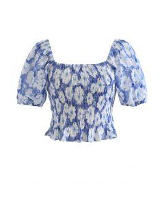 Geprägtes Floral Shirred Crop Top in Blau